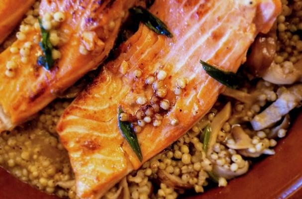 Pan-Seared Salmon with Shiitake Mushrooms and Miso Sorghum