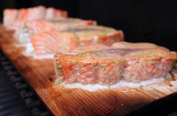 cedar planked copper river salmon