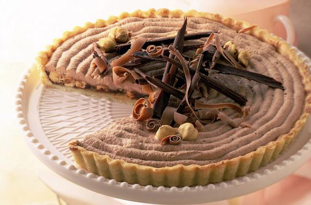 pumpkin hazelnut tart with chocolate curls