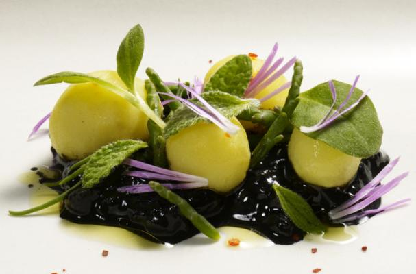 coi restaurant food potatoes ice plant flower cucumber and borage