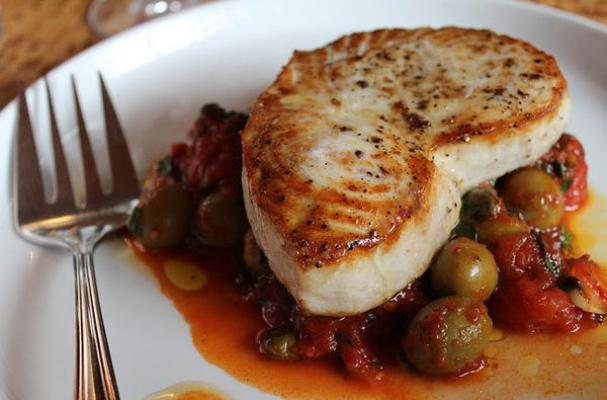 Roasted Swordfish with Manzanilla Olives, Cherry Tomatoes, and Capers