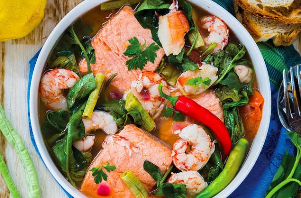 Seafood Sinigang: Sour and Savory Seafood Soup Seasoned with Gremolata