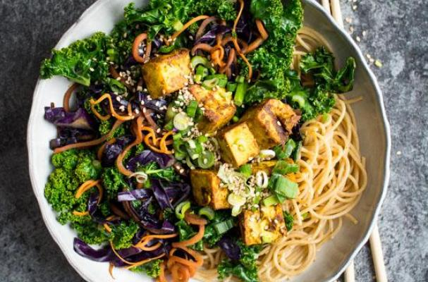 Kale Stir fry with Crispy Tofu