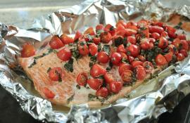 Foil Packet Salmon with Cherry Tomatoes, Basil and Capers