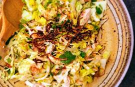 Asian Chicken Salad with Fried Shallots