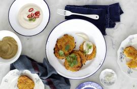 Vegan Latkes With Chili Cream and Applesauce