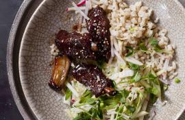 Five-Spice Riblets with Sticky Rice and Apple Slaw